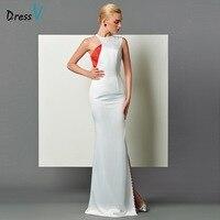 Dressv biały podziel przednia długa suknia elegancki pochwa sexy backless hollow rękawów mermaid suknie wieczorowe suknia wieczorowa