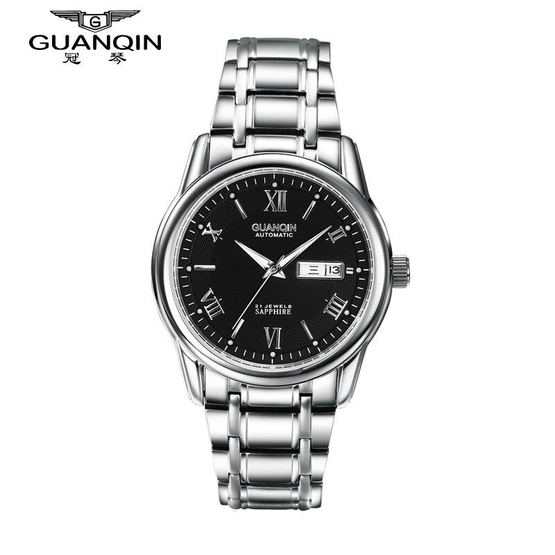 ФОТО GUANQIN Men Watch Mechanical Watches Luminous 30m Waterproof Mechanical Luxury Sapphire Analog Watch Big Dial Men Wristwatches