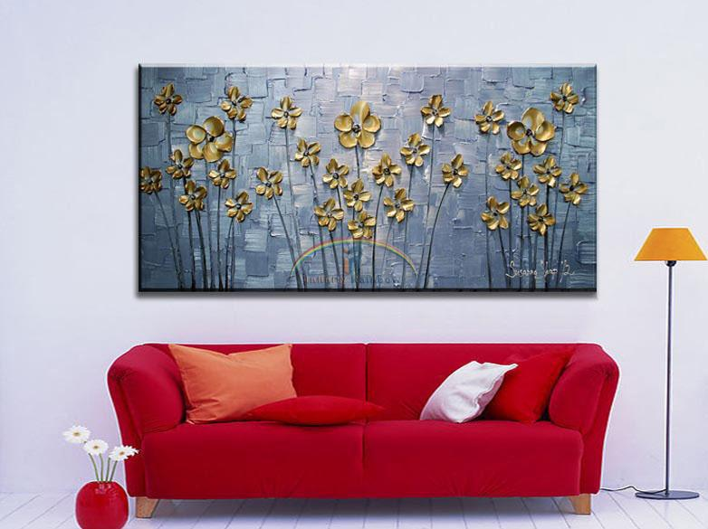 2016 Home Decor Real Picture Golden Leaf Oil Painting Handpainted Wall Art Modern Floral On Canvas