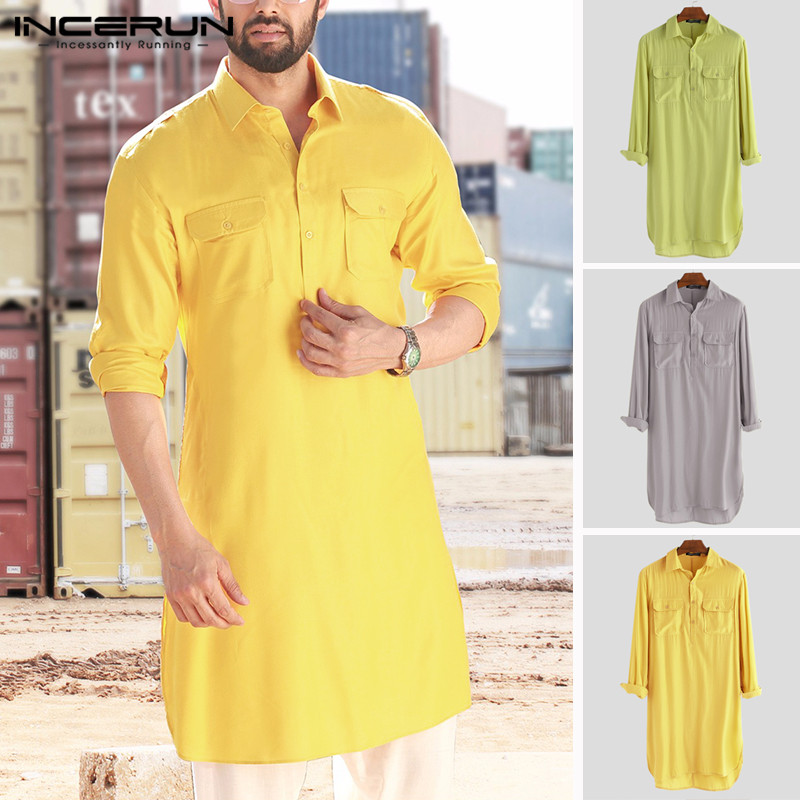 2019 Men Shirt Solid Lapel Neck Long Sleeve Pockets Vintage Pakistan Muslim Clothing Long Shirts Men INCERUN Indian Clothing