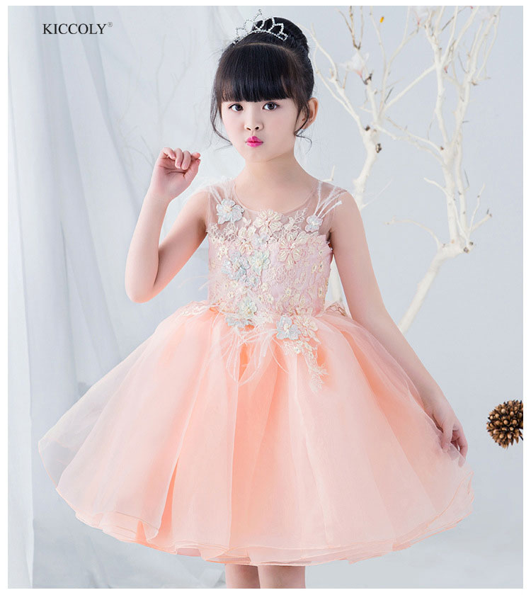 KICCOLY 2018 Baby Girl Pink Tutu Sundress Tulle Sleeveless Embroidered Gown Princess Dress For Girl Kids Birthday Party Dress