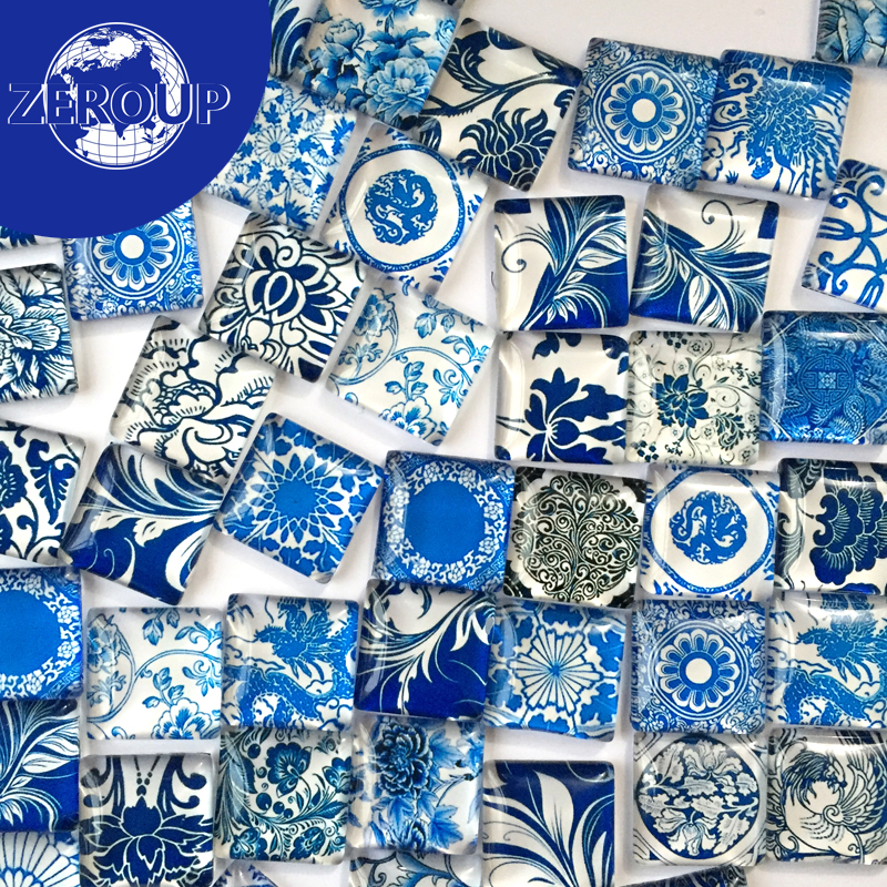 50pcs/lot Clear Square Glass Cabochon Blue And White Porcelain Pattern Mixed Color Fit Cameo Setting 10mm 12mm 15mm