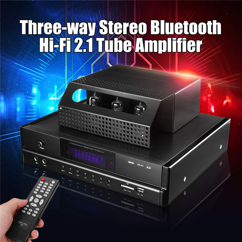Wireless Home Audio Tube Integrated Amplifier Bluetooth 4.0 HIFI 2.1 Tube Power Amplifier 200W USB SD Microphone Subwoofer AMP queenway airs digital car cd player change to home audio hifi professional amplifie hifi car home amp a