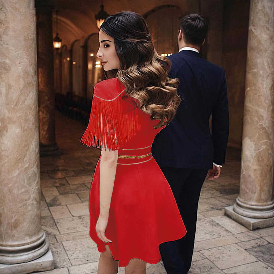 Seamyla 2019 חדש קיץ נשים שמלה סקסי לבן אדום שחור גדילים מיני מועדון שמלת Vestidos אלגנטי פרינג 'סלבריטאים מפלגת שמלות