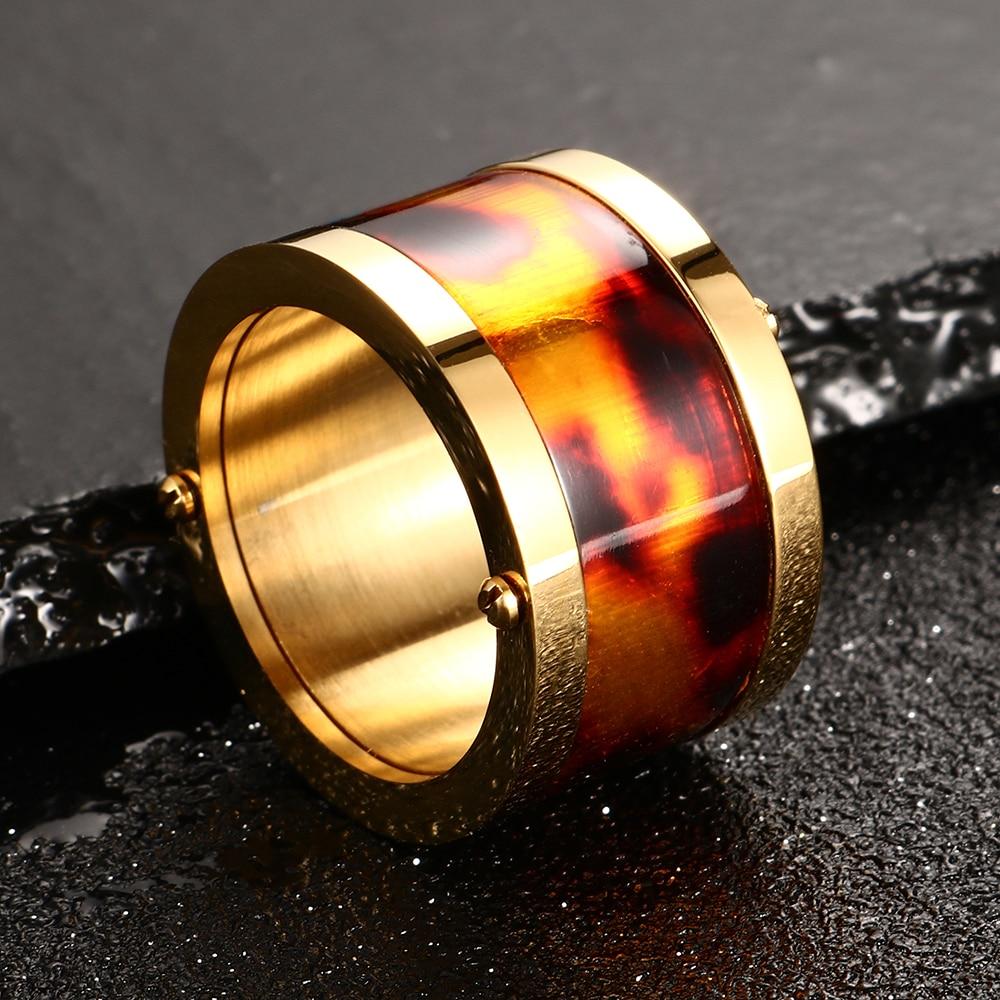 Винтидж 14 мм широки пръстени за жени мода розово злато цвят пръстен бижута пънк стил мъжки пръстен подаръци за рожден ден