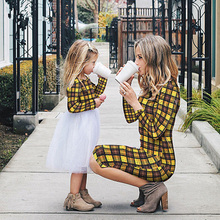 Mother Daughter Family Matching Long Sleeve Dress Summer Women Round Neck Color Plaid Beach Dresses