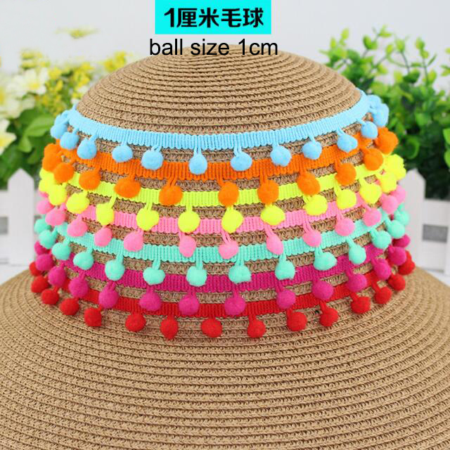 40Yards /lot 1.9cm Colorful Pom Pom Lace Trim Ball Tassel Ribbon Handmade Fringe Sewing Fabric DIY Craft Sewing Accessary Lace
