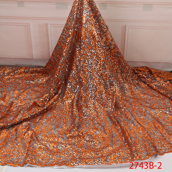 Latest African Laces 2019 High Quality Orange Sequins Lace Fabric Embroidery French Nigerian Lace Fabric For Wedding 2743b - discount item 28% OFF Home & Garden
