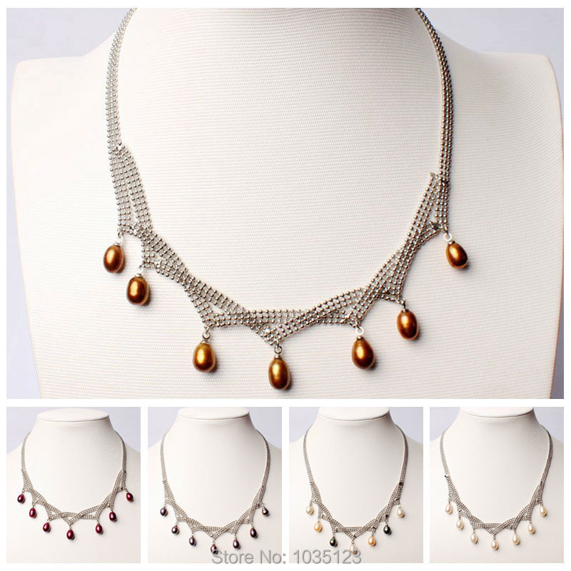 Free Shipping Pretty 7-9mm 5 Color Natural Freshwater Pearl White Gilded Necklace Jewelry 17