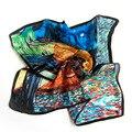 2017 Nuevo Diseño de 100% Mujeres de Seda de Mujer Pañuelos de Seda Bufanda Cuadrada Mini Pintura Al Óleo Artístico Decoración Elegante Primavera Otoño SY