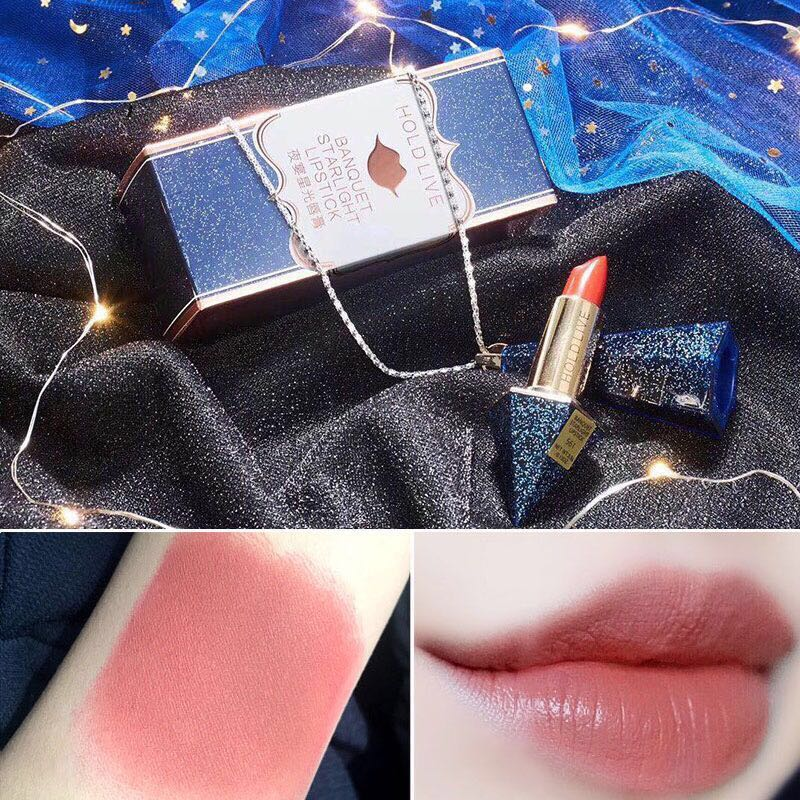 HOLD LIVE Brand Makeup Diamond Matte Lipstick Smooth Moisturizing Long Lasting Waterproof Nude Lip Stick 6Color Red Lips Make Up hold live 6 color vevet matte lip stick for nude red lips lipstick korean brand kit pink diamonds lipstick 24 hours long lasting