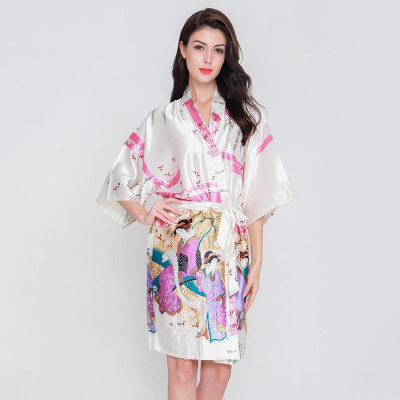 Free Shipping Black Bathrobe Nightwear Silk Bathown Kimono Gown Kaftan Dress One Size  Wholesale Ratail silk