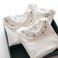 Neue ankunft Mädchen t-shirts Langarm Weißes t-shirt für Mädchen drehen Unten Kragen Kleinkind Mädchen Shirts Gute Qualität Kinder t Shirts
