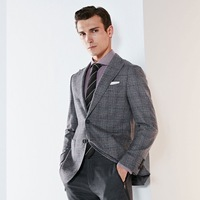 100% wool blazer men clothes 2018 autumn winter new arrivals smart casual grey plaid wedding groom suits jacket single breasted