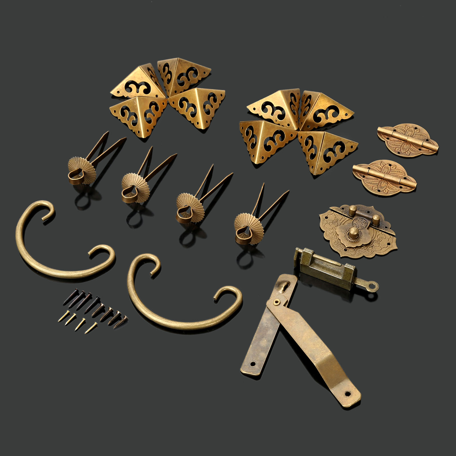 Brass Hardware Set Furniture Knobs and Handles +Hinges +Latch +Lock+Pin+Corner Protector Antique Jewelry Wood Box Decoration 4pcs antique brass jewelry chest wood box decorative feet leg corner brackets protector for cabinet furniture hardware
