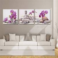 Triptych Flower Buddha Mosaic Needlework Diamond Painting Wall Sticker Resin Diy Diamond Embroidery Square Drill Full