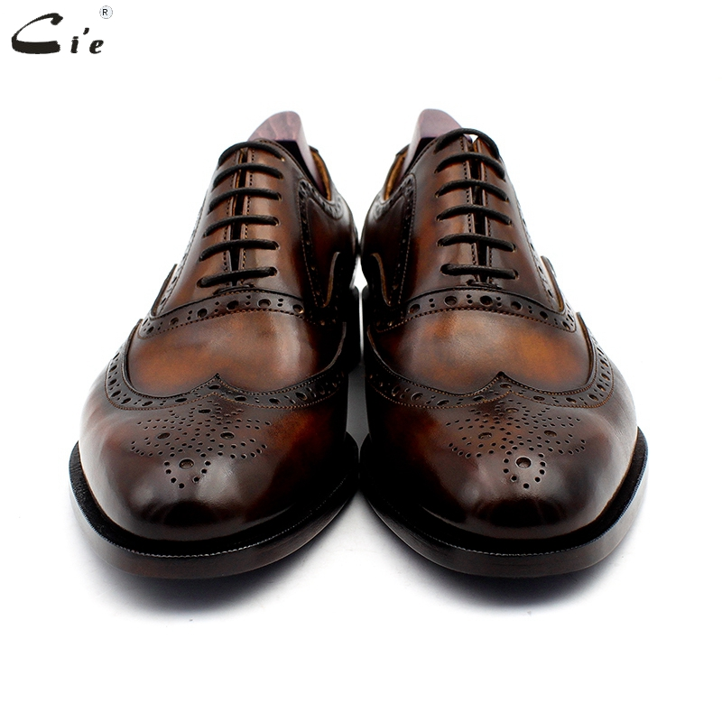 Image 4 - cie oxford patina brown brogues dress shoe genuine calf leather outsole men leather work shoe handmade quick delivery No. 20311Formal Shoes   -