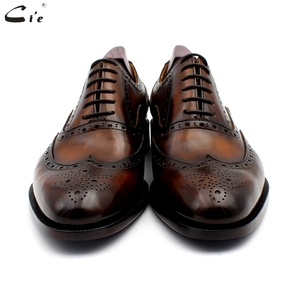 Image 4 - cie oxford patina brown brogues dress shoe genuine calf leather outsole men leather work shoe handmade quick delivery No. 20311