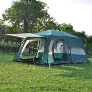 Image 3 - 大型テント家族防水二重層 8 10 12 人キャビンテント 2 リビングルーム高級キャンプマーキーテント