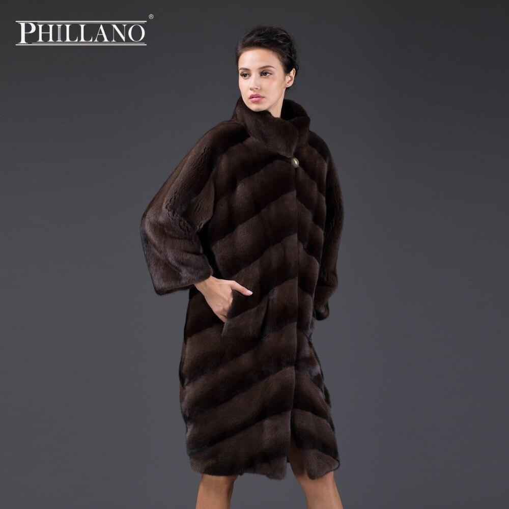 PHILLANO 2017 New Premium Women norský oděv přírodní srst diagonální uspořádání krátký kabát norek Skandinávie Dánsko NAFA YG14043-100