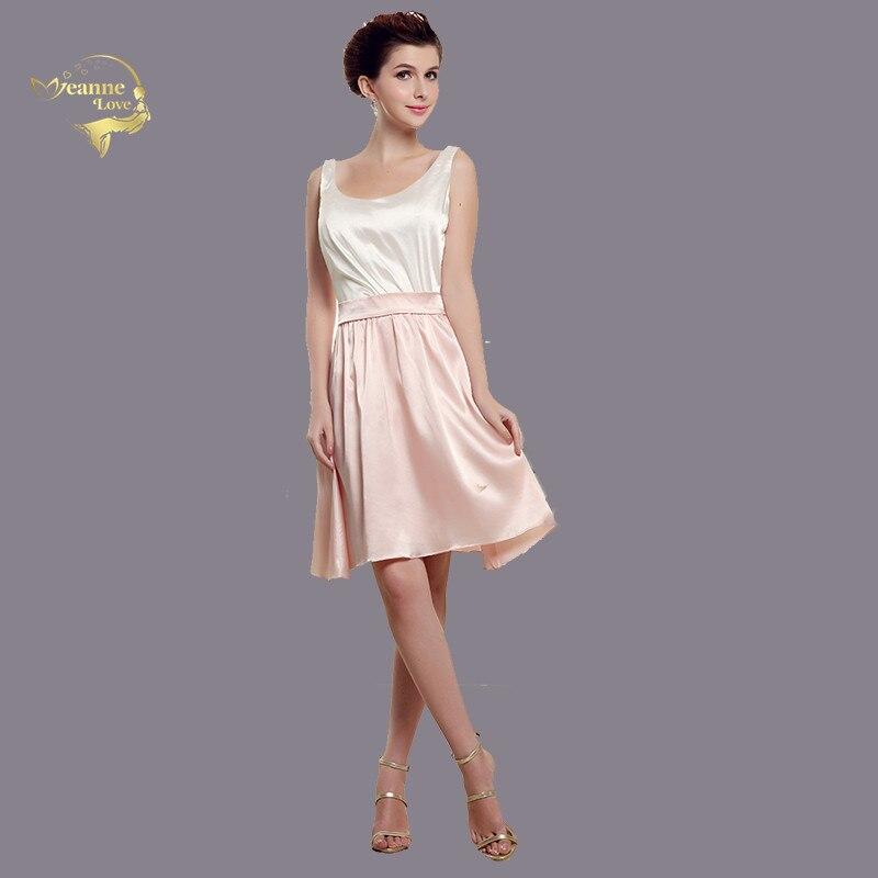 Pink Satin   Bridesmaid     Dresses   Knee Length Scoop Simple   Dress   for   Bridesmaid   Women Robe De Demoiselle d'honneur Pour Mariage