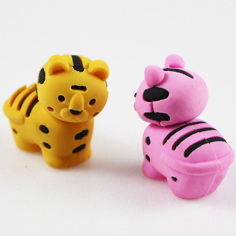 1X Cartoon Assemble Eraser Mini Tiger Modelling Eraser Children Stationery Gift Prizes Kawaii School Office Supplies Papelaria