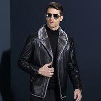 2017 Winter New Casual Fur Collar Blouson Cuir Homme Excellent Quality Soft Comfortable Casacos Em Pele