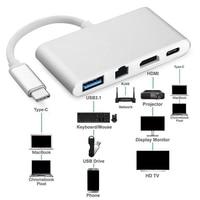 Type C to HDMI 4K+Gigabit Ethernet9 (RJ45 Port) USB 3.1 Type C HUB Adapter Splitter For Macbook HDTV Chromebook Pixel Converter