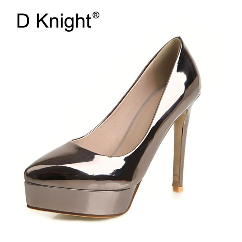 Gold Women Platform Pumps Sexy Shallow Mouth High Heels Wedding Party Shoes Big Size 33-48 Patent Leather Lady High Heeled ShoesGold Women Platform Pumps Sexy Shallow Mouth High Heels Wedding Party Shoes Big Size 33-48 Patent Leather Lady High Heeled Shoes