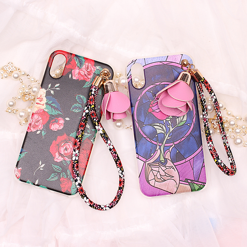 For Samsung A3 A5 A7 A8 A310 A510 A710 A720 2017 NOTE 2 3 4 5 Flower Strap Mobile Phone Case Funda Cover Bag Housing Shell Skin