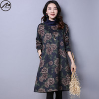 MIWIMD Big Size Women S Autumn Winter Dresses 2017 New Fashion Casual Loose Printed Long Sleeves