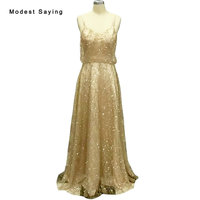 Sexy Shiny Gold A Line Sweetheart Evening Dresses 2018 With Straps Women Long Party Prom Gowns