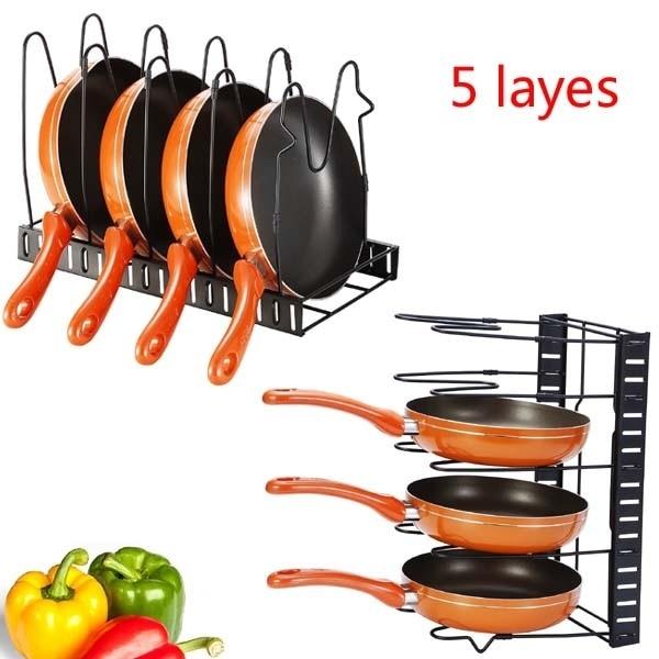Kitchen Storage Rack Pan Pot Lid Organizer Shelves Holder Stand Foldable Black 4 Layers/5 Layers