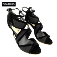 New Arriver Gladiator High Thin Heels Peep Toe Hollow Party Sexy Ladies Shoes Buckle Strap Checkered