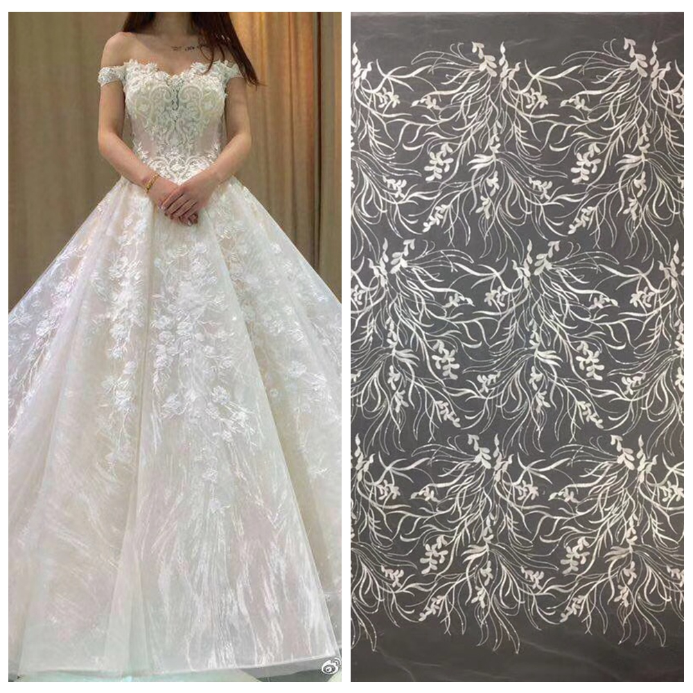 New fashion off white polyester on mesh embroidery lace fabric high end dresses stage performance clothes