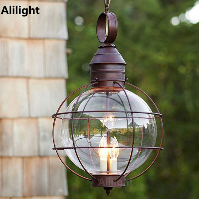 Iron industrial loft outdoor pendant lamp globe multipurpose porch iron industrial loft outdoor pendant lamp globe multipurpose porch lights for garden aisle with glass lampshade aloadofball Images