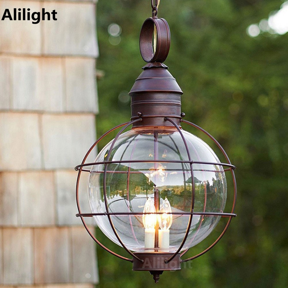 Outdoor porch lamp - Iron Industrial Loft Outdoor Pendant Lamp Globe Multipurpose Porch Lights For Garden Aisle With Glass Lampshade