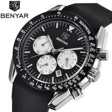 b3a2b60b600 BENYAR Moda Clássico Marca de Luxo Relógio de Quartzo Homens Militar Preto  Silicone Grandes mostradores de relógio Homem Esporte.