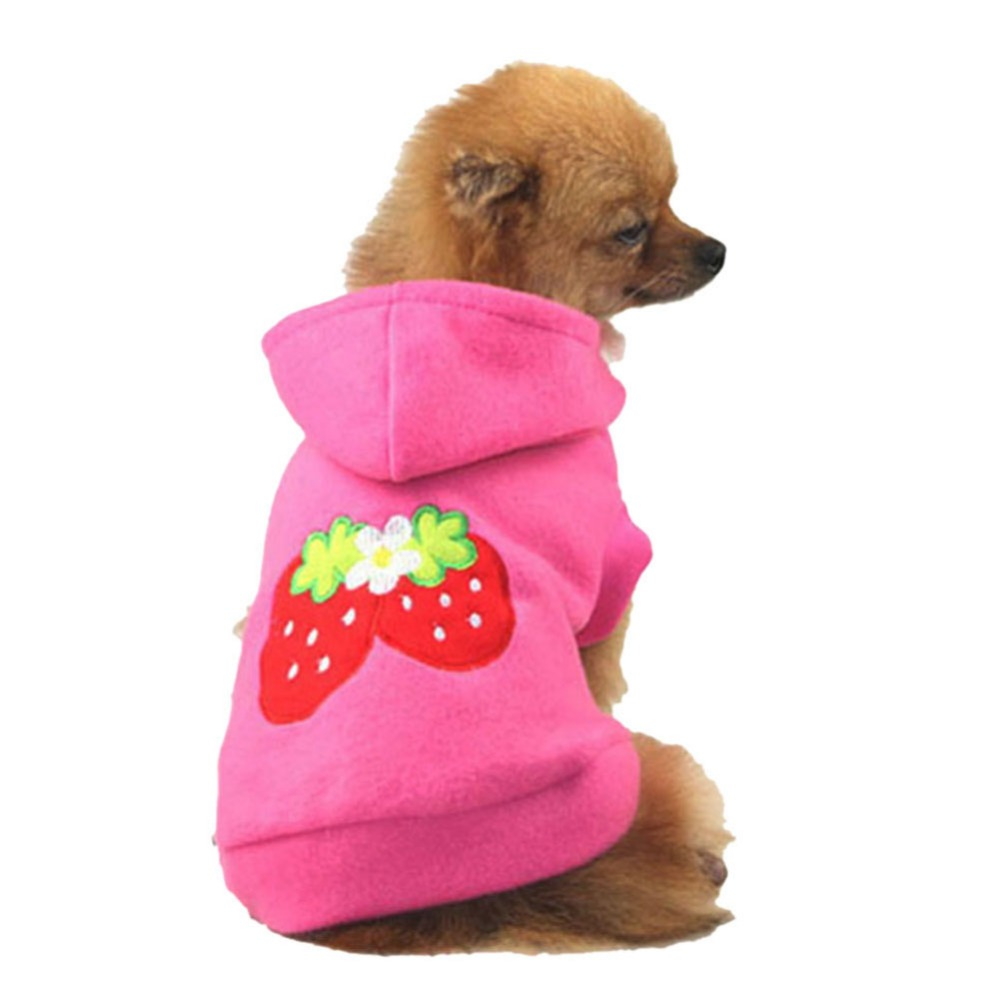 Ventas calientes Lovely Pet Puppy Dog Strawberry Hoodie ropa chaqueta - Productos animales