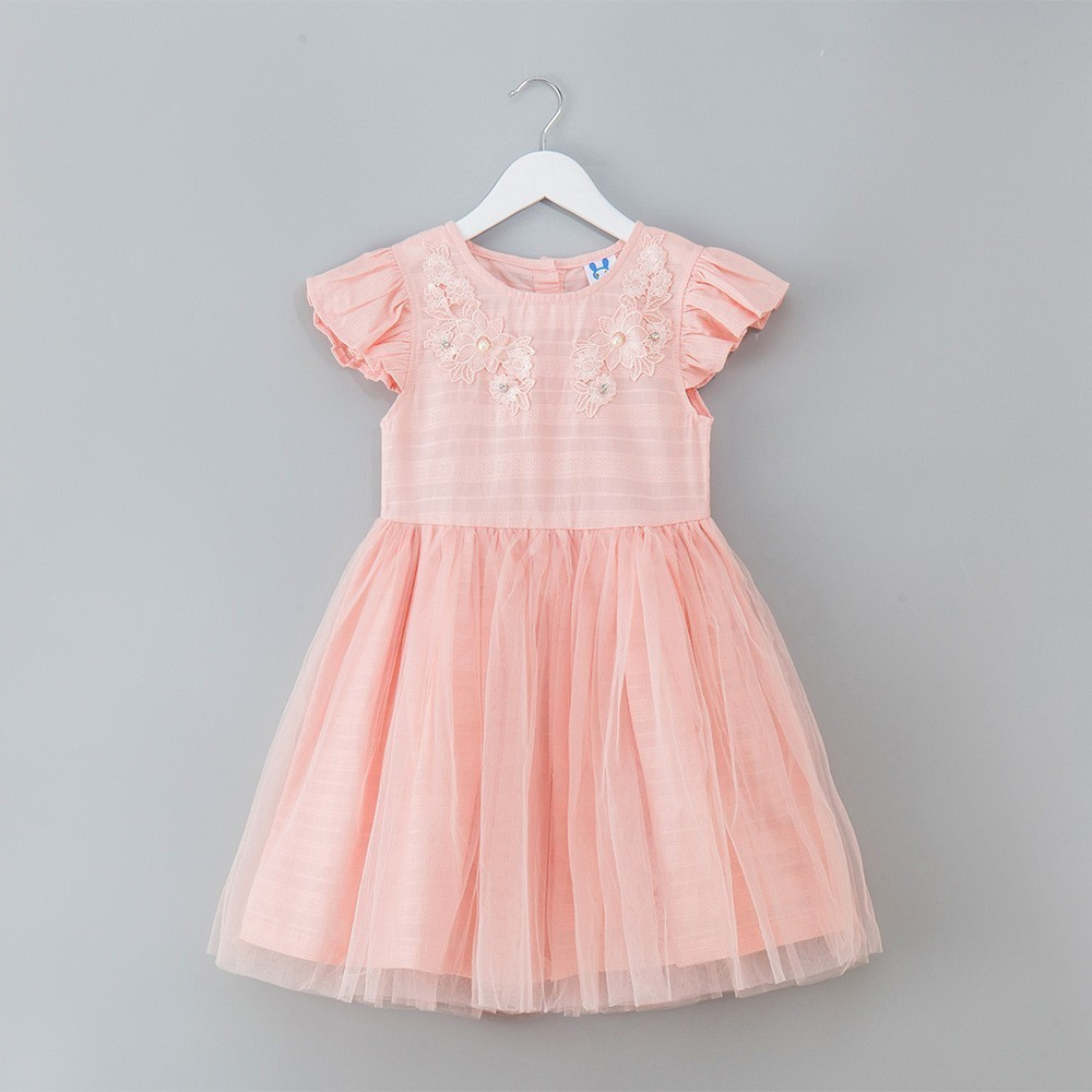 b87106a46741 Tulle Patchwork Teenage Party Dresses Girl White Pink Embroidery Kids Dress  For Girls Floral Summer 2019