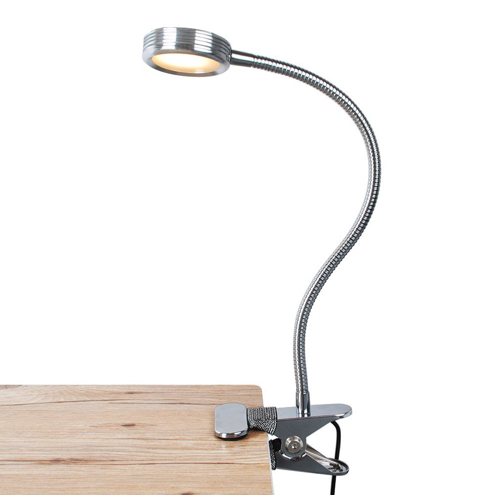 Portable LED Clip-On Reading Lights 3 Brightness Rechargeable With USB Cable Flexible Gooseneck Dimmable Book Lamp For Table Bed