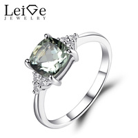 Leige Jewelry Natural Green Amethyst Ring Engagement Promise Rings for Women 925 Sterling Silver Green Gemstone Fine Jewelry