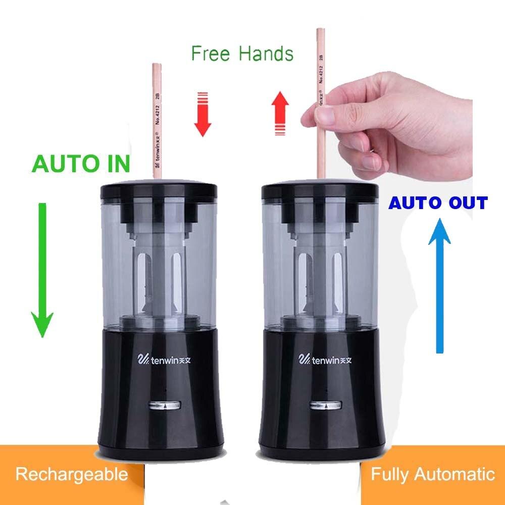 Sacapuntas eléctrico automático de alta resistencia recargable para el salón de clases parada automática afilar rápido en 3s papelería de oficina escolar