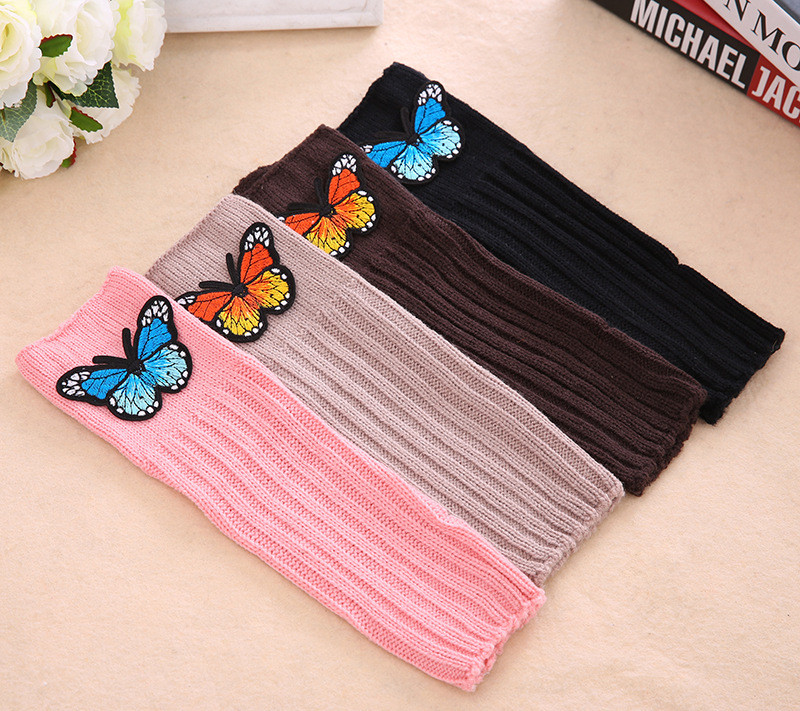 Solid Color Butterfly Applique Knitted Women's Gloves Wrist Arm Warmer Winter Fingerless Mitten Dropship