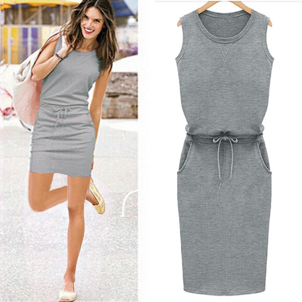 American Style Summer Women Cotton Slim Girls Vest Dress ...
