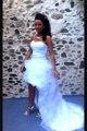 Blanco Alto Bajo Sin Tirantes Falda de Organza Vestido de Novia Corto En Largo Delantero En Volver Vestidos De Noiva
