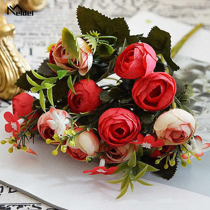 rose flowers artificial bouquet wedding fake flower (14)