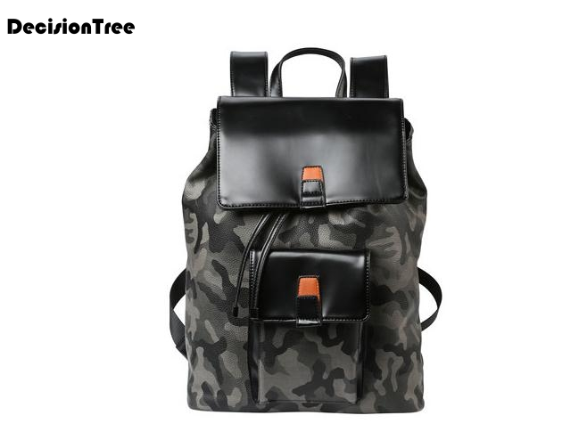 New Cool Fashion Male Camouflage String Backpacks Korean Style High Quality PU Leather Backpack School Bags For Teenager L433New Cool Fashion Male Camouflage String Backpacks Korean Style High Quality PU Leather Backpack School Bags For Teenager L433