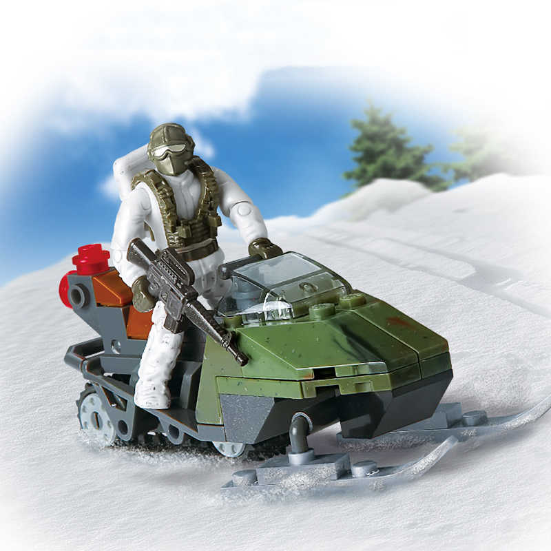 Military 1:36 scale Snow Leopard Commando Snowfield Breakthrough mega building block army action figures snowmobile bricks toys