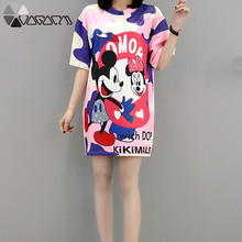 2019 Plus Size Summer Dress Mickey Mous Cartoon Print Fashion Vestidos Loose Female Mini Dresses Clothes M-5XL